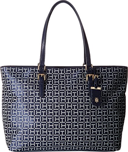 Tommy Hilfiger Women's Julia Signature Jacquard Tote Navy/White Handbag