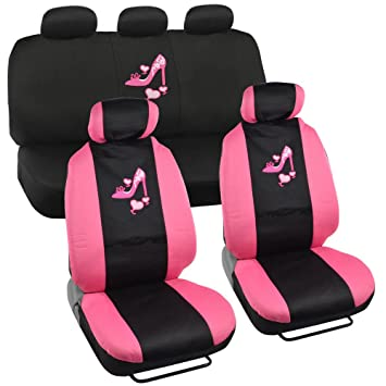 Lady High Heel Shoe Seat Covers For Car W Triple Pink Hearts Auto Accessories Interior