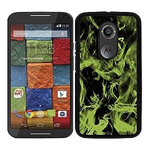 Funda carcasa para Motorola X2 diseño efecto humo verde borde negro