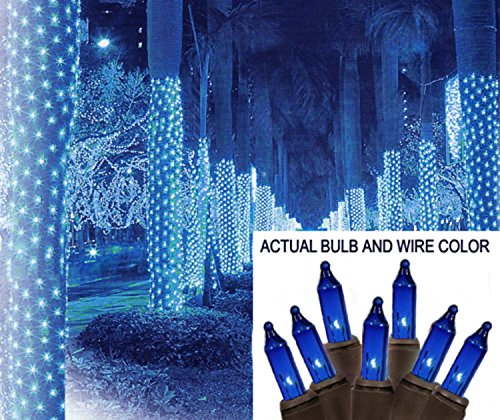 Christmas Tree Wrap (Sienna 2' X 8' Blue Mini Christmas Net Style Tree Trunk Wrap Lights - Brown Wire)