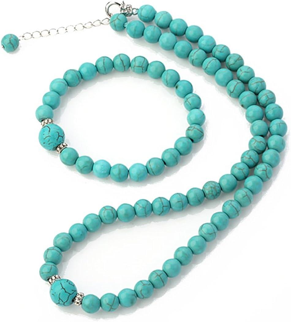 TreasureBay impresionante 8–12mm Cuentas de cristal de Natural Gemstone Collar y pulsera conjunto de joyas (azul turquesa)