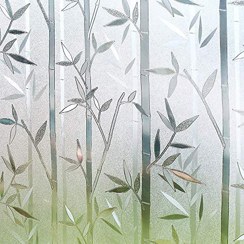 Window Film,Static Window Film for Glass Privacy Film Frosted Glass Self Adhesive Window Film Decorative, 3D Bamboo Pattern for Home Kitchen Office (Size : 90x500cm)