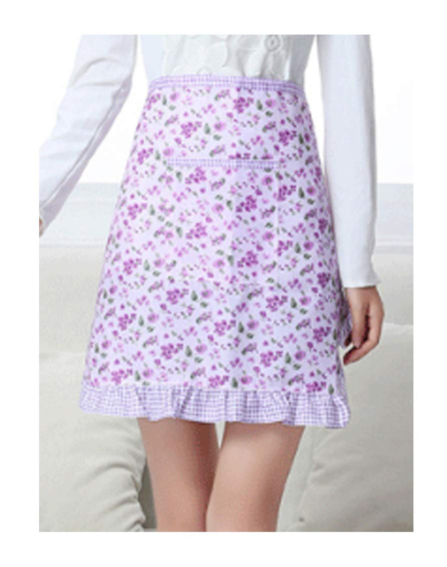 CRB Fashion Waist Apron Pocket Commercial Restaurant Waitress for Girl Woman Half Bistro Aprons (Light Purple)