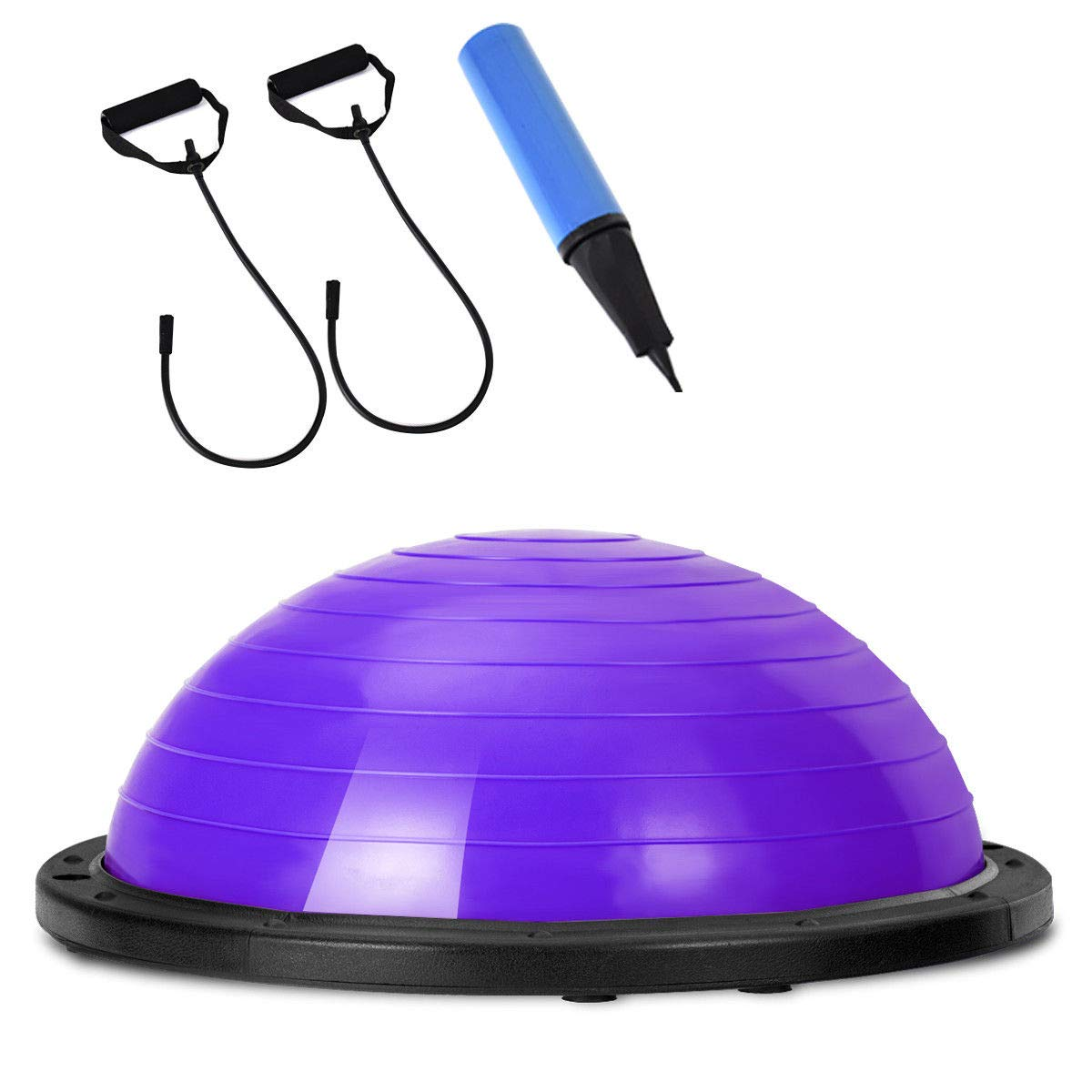 Giantex 23'' Yoga Ball with Pump Balance Fitness Trainer Home Exercise Training Balance Boards (Purple)