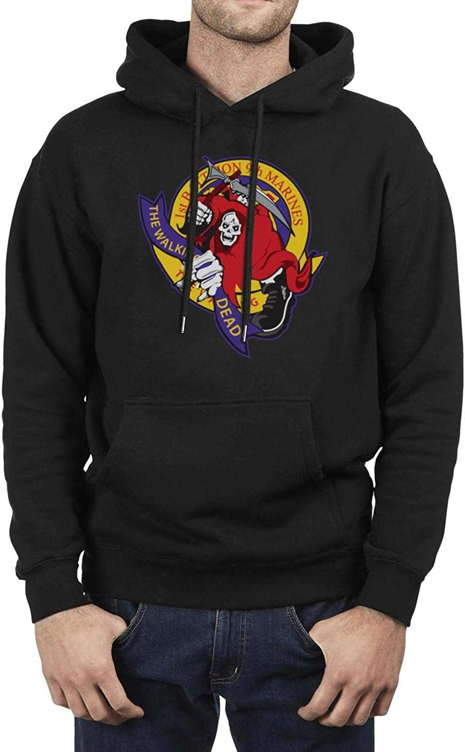 LQIAO Mens Hoodie 1st Battalion 9th Marines Cute Breathable Big Pockets Hoodies Sweatshirt