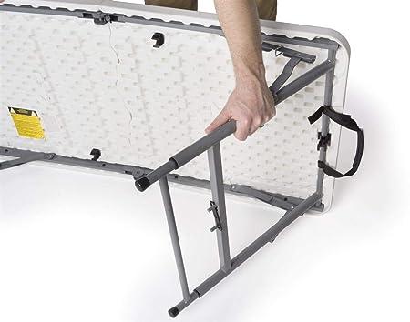 Displays2go Adjustable Height Folding Table, 4-Feet, White