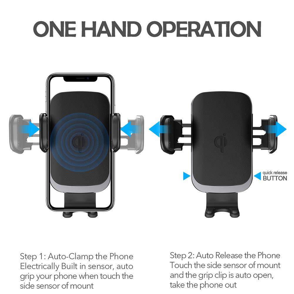 Amazon.com: Soporte de cargador de coche inalámbrico Qi ...