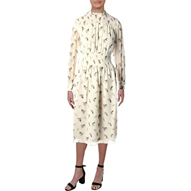 addb6f4a2519 Amazon.com  Juicy Couture Womens Watercolor Floral Smocked Midi Dress   Clothing