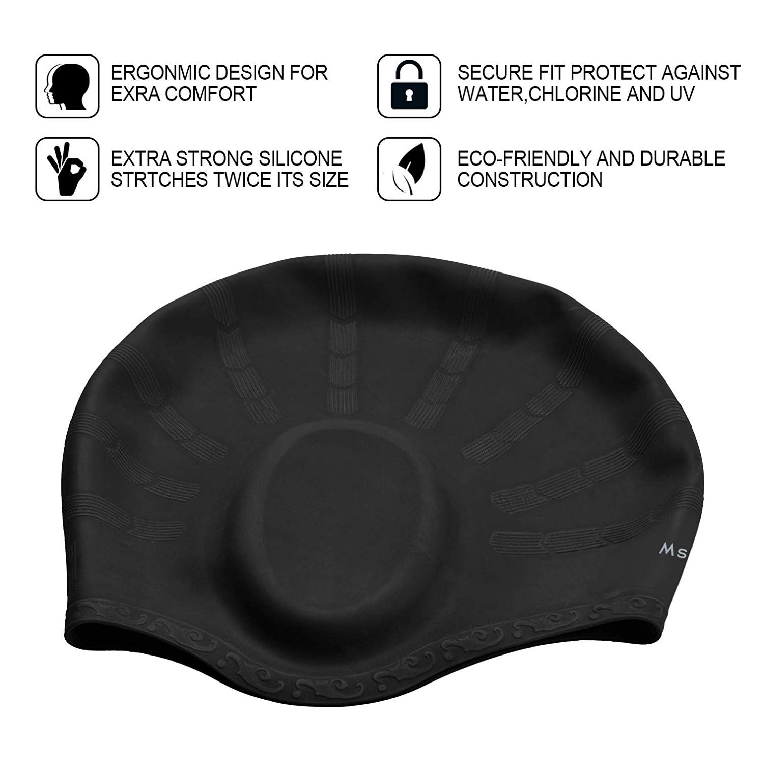 Msicyness Swim Casp for Men and Women Long//Short Hair Silicone Stretchy Swimming Hats Cover Ears Unisex Adult Youth Size