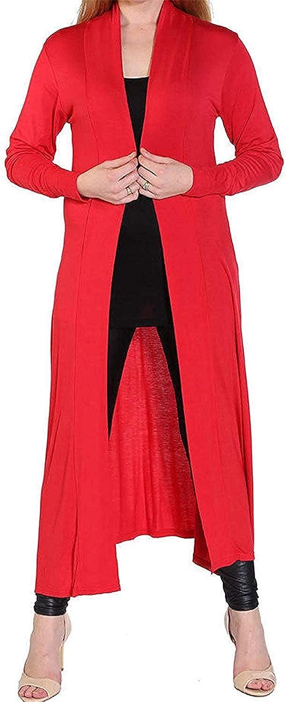 GirlzWalk Womens Long Sleeve Open Front Long Maxi Cardigan Ladies Longline Duster Coat