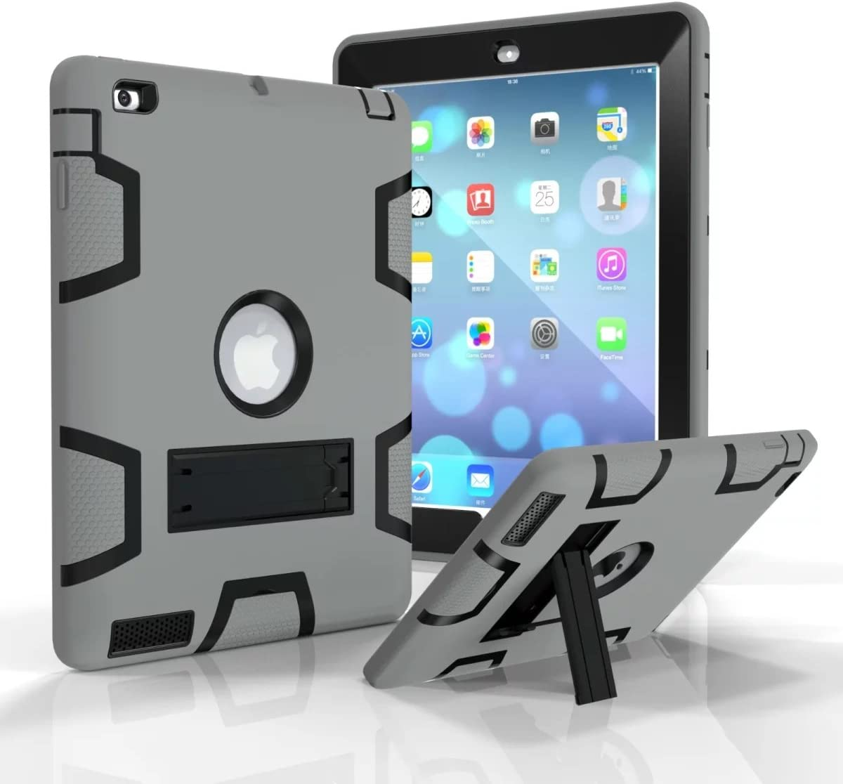 Jaorty iPad 2/3/4 Case,iPad 2/3/4 Retina Case, 3 in 1 Hybrid [Soft&Hard] Heavy Duty Rugged Stand Cover Shockproof Anti-Slip Anti-Scratch Full-Body Protective Cases for iPad 2/3/4, Gray/Black