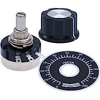 2pcs RV24YN20S Single Turn Carbon Film Rotary Taper Potentiometer Used for Inverter speed regulation. Motor speed control + 2pcs A03 knob + 2pcs dials (B101 100 ohm)