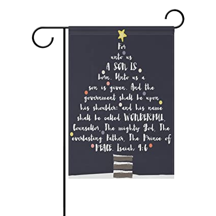 yzgo christmas tree typography bible verse garden flag home polyester fabric mildew resistant welcome house yard