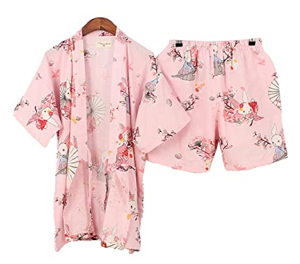 ec42db063 Amazon.com  DRAGON SONIC Japanese Style Kimono Pajamas Summer Cotton ...