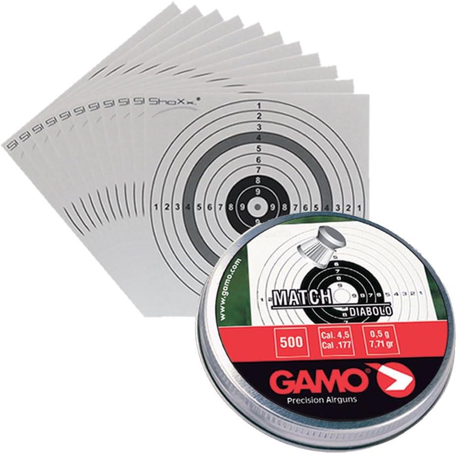 Set: 500 balines Gamo Match Kal, 4.5 mm + 10 dianas shoot-Club