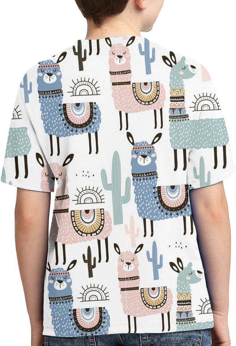 XS-XL Short-Sleeve Llama Cactus and Hand Drawnf Shirts for Children Cute Tunic Shirt Dress