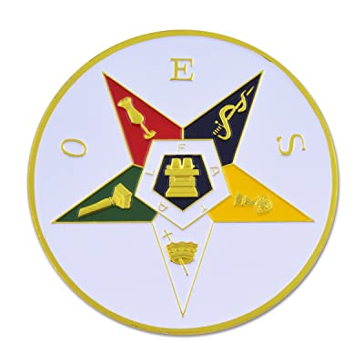 "Order of the Eastern Star Round Masonic Auto Emblem - 3"" Diameter: Automotive"