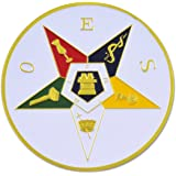 Order of the Eastern Star Round Masonic Auto Emblem - [White & Gold][3'' Diameter]