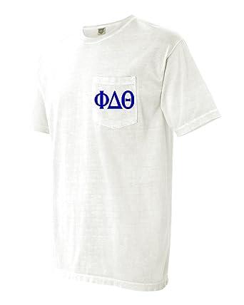 4f422832 Phi Delta Theta Fraternity Comfort Colors Pocket T-Shirt (Large, White)