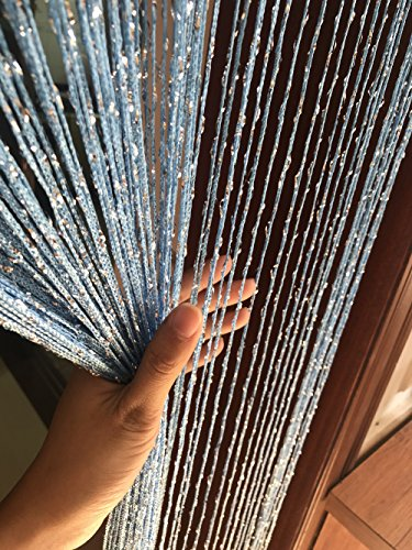 Eyotool 1x2 M Door String Curtain Rare Flat Silver Ribbon Thread Fringe Window Panel Room Divider Cute Strip Tassel for Wedding Coffee House Restaurant Parts, Sky Blue - Cute Bead