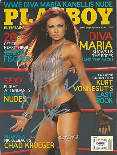 Maria Kanellis Signed April 2008 Playboy Magazine COA WWE Autograph Diva - PSA/DNA Certified