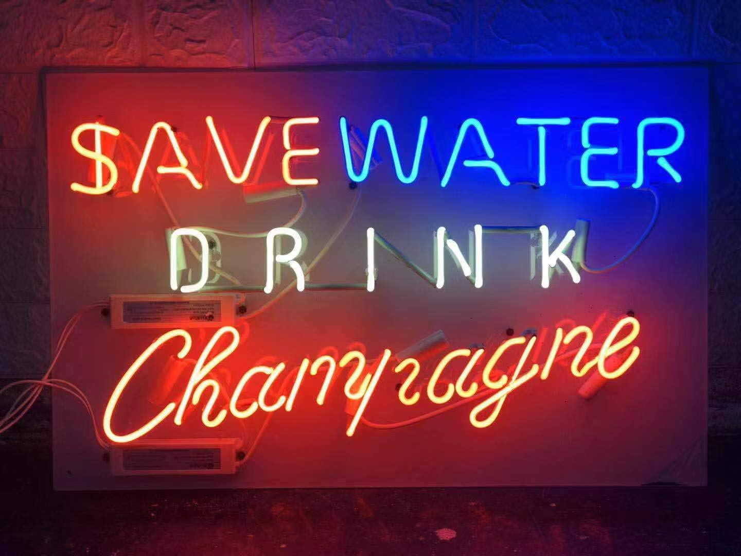 SAVE WATER DRINK CHAMPAGNE 24x14 Neon Sign Light,Advertising Sign Nightlight,Handmade Real Glass Tube,Beer Bar Pub Home Room Windows Garage Wall Decor Wedding Party Decoration