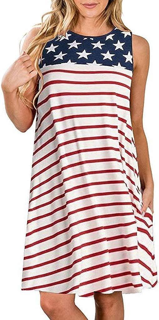 RTYou Dress for Women Sleeveless Stripes Star American Flag Print Tank Dress Pocket Loose Dress Patriotic 4th July T Shirts