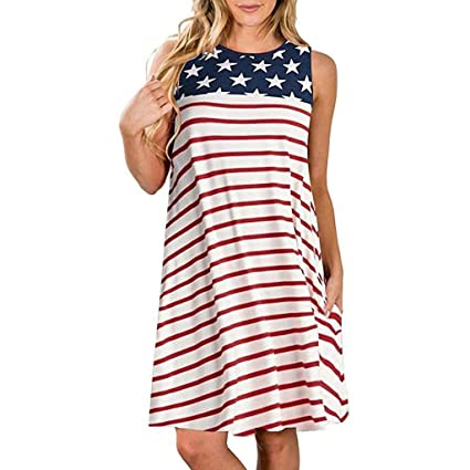 8a5d591e14 Independence Day Dress Women Sleeveless Crewneck Loose T Shirt Dresses USA  Flag Print Stars Red and