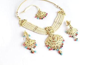 Amazon Com Glamorous Collection Jadau Multicolor Bridal Necklace