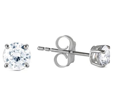 7f4ccbadcec 0.40 Carat (CTW) Natural Round Brilliant Diamond 14K White Gold Stud  Earrings H-I Color