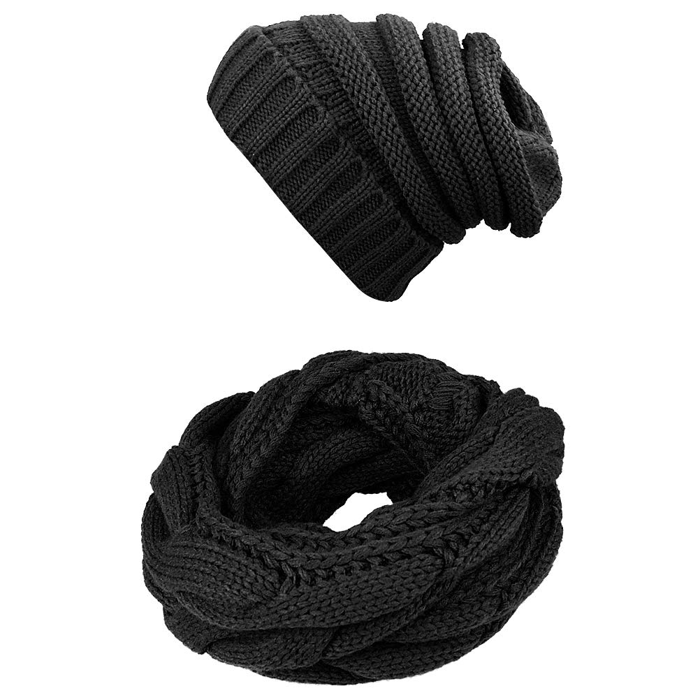 Knit Infinity Scarf Beanie Hat Set Winter Warm Scarfs Scarves for Women and Men (Black)