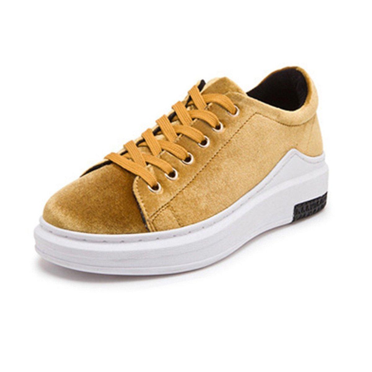 Basket mode chaussure femme chaussure loisir plate-forme sneakers compensé B000W069PS casuel sneakers sportif velours printemps Jaune 868590a - boatplans.space