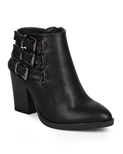 DA00 Women Leatherette Pointy Toe Chunky Heel Ankle Strappy Bootie - Black Leatherette