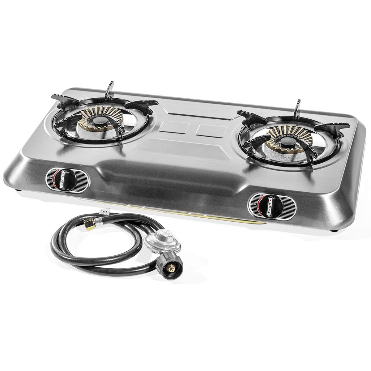 XtremepowerUS Deluxe Propane Gas Range Stove 2 Burner Stainless Steel Cooktop Auto Ignition 95518