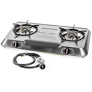 XtremepowerUS Deluxe Propane Gas Range Stove 2 Burner Stainless Steel Cooktop Auto Ignition