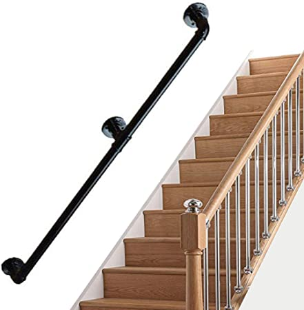 Negro Pasamanos para escaleras de Hierro Forjado para Soporte de Paredes Conjuntos | Barandilla Escalera Interior Exterior | Balaustrada Industrial Corredor de Acceso: Amazon.es: Hogar