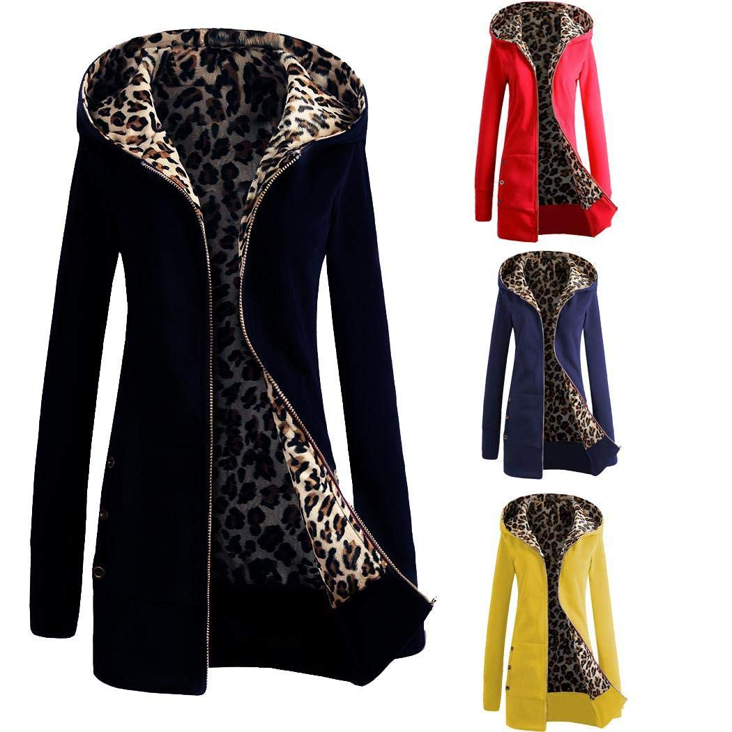 JinsChen Women Casual Hooded Neck Leopard Print Zipper Closure Jacket,Casual Sweater Coat Jackets