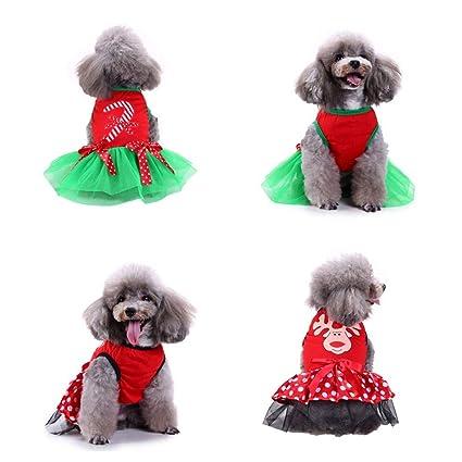 9bbe9336b1d3 Amazon.com   Glumes New Christmas Dog Dress Walking Stick Elk ...
