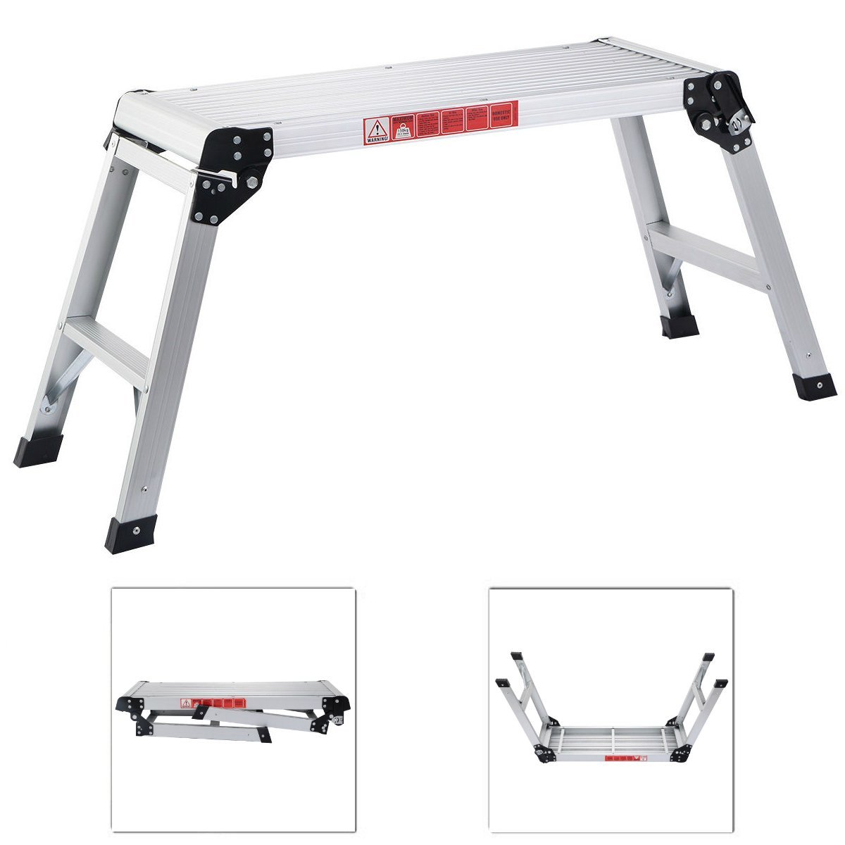 Eosphor US Sturdy HD Construction Aluminum Folding Work Bench Platform Drywall Step Up Stool Ladder | Washing Cleaning Decorating Maintenance