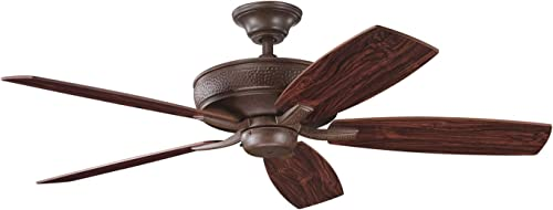 Kichler 339013TZ, Monarch II Tannery Bronze Energy Star 52 Ceiling Fan with Remote Control