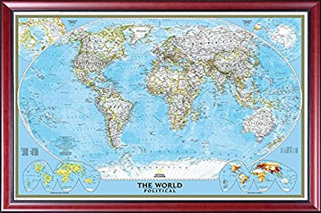 Amazon framed world map by national geographic map of the framed world map by national geographic map of the world mahogany wood frame gumiabroncs Images