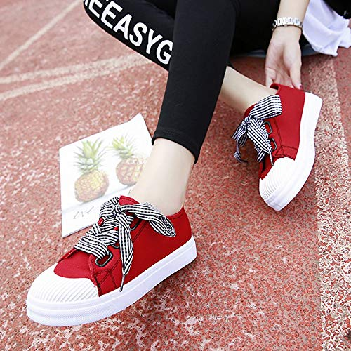 Rosso Scarpe rotonda poliuretano piatto righe ZHZNVX da Canvas Black donna Tacco PU Nero A Punta Bianco Sneakers Comfort autunno Rqw4wdZpy