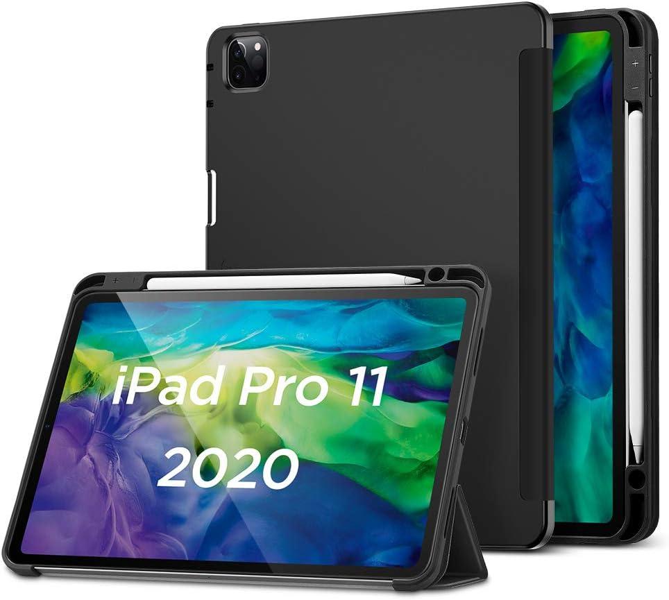 """ESR Funda para iPad Pro 11""""2020(2da generación)[Funda con Soporte Apple Pencil][Tapa Trasera de Suave TPU Flexible][Modo Automático Reposo/Actividad][Múltiples Ángulos de Visión], Negro"""