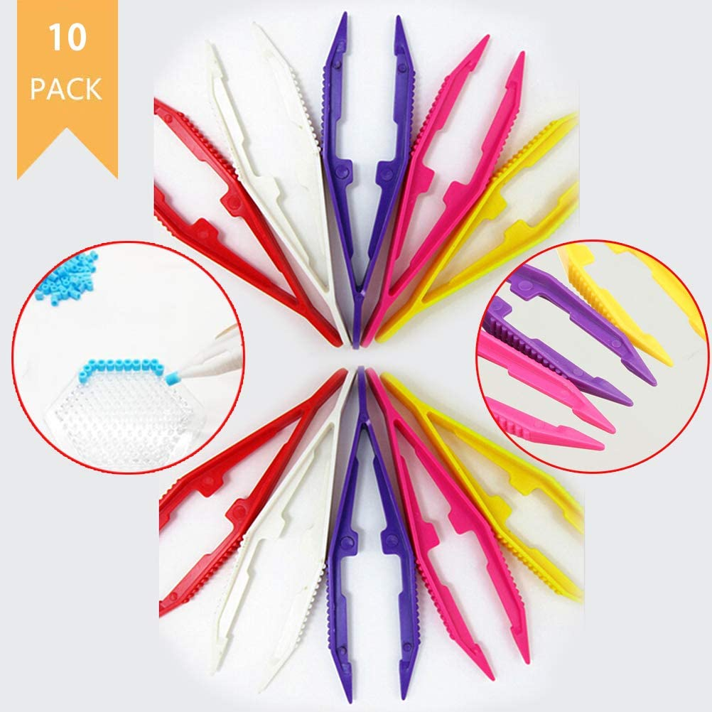 XIDAJIE 10 Pack Plastic Tweezers Toys Kids Toy Tweezers Funny Tweezers for Perler Beads Jewelry Beads Accessories Tool Tweezer Kids Craft Tweezers for Puzzle Models and Building Toys