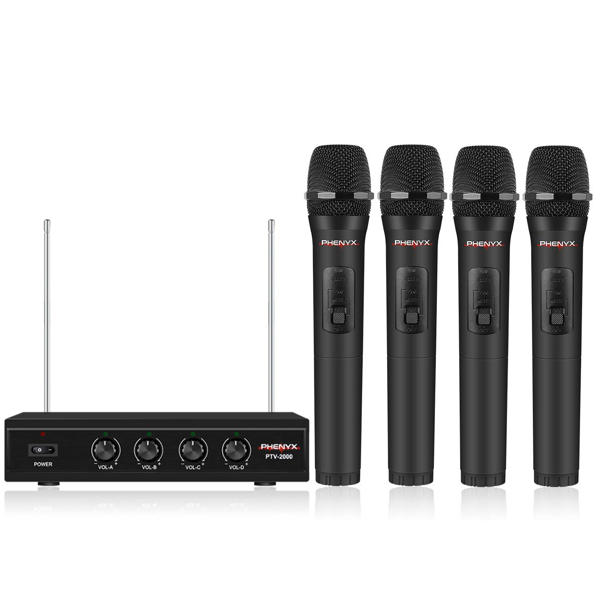 4 Channel VHF Wireless Microphone, Phenyx Pro 4-Channel Wireless Microphone System with 4 Handheld Mics, Metal Receiver, Long Distance Operation, Ideal for Church, Party, Outdoor Events (PTV-2000A) by Phenyx Pro
