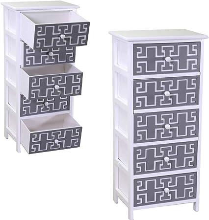 in Legno Bianco Design Moderno con 5 Cassetti 26x32x98h PiuShopping Mobiletto Bagno Cassettiera Salvaspazio