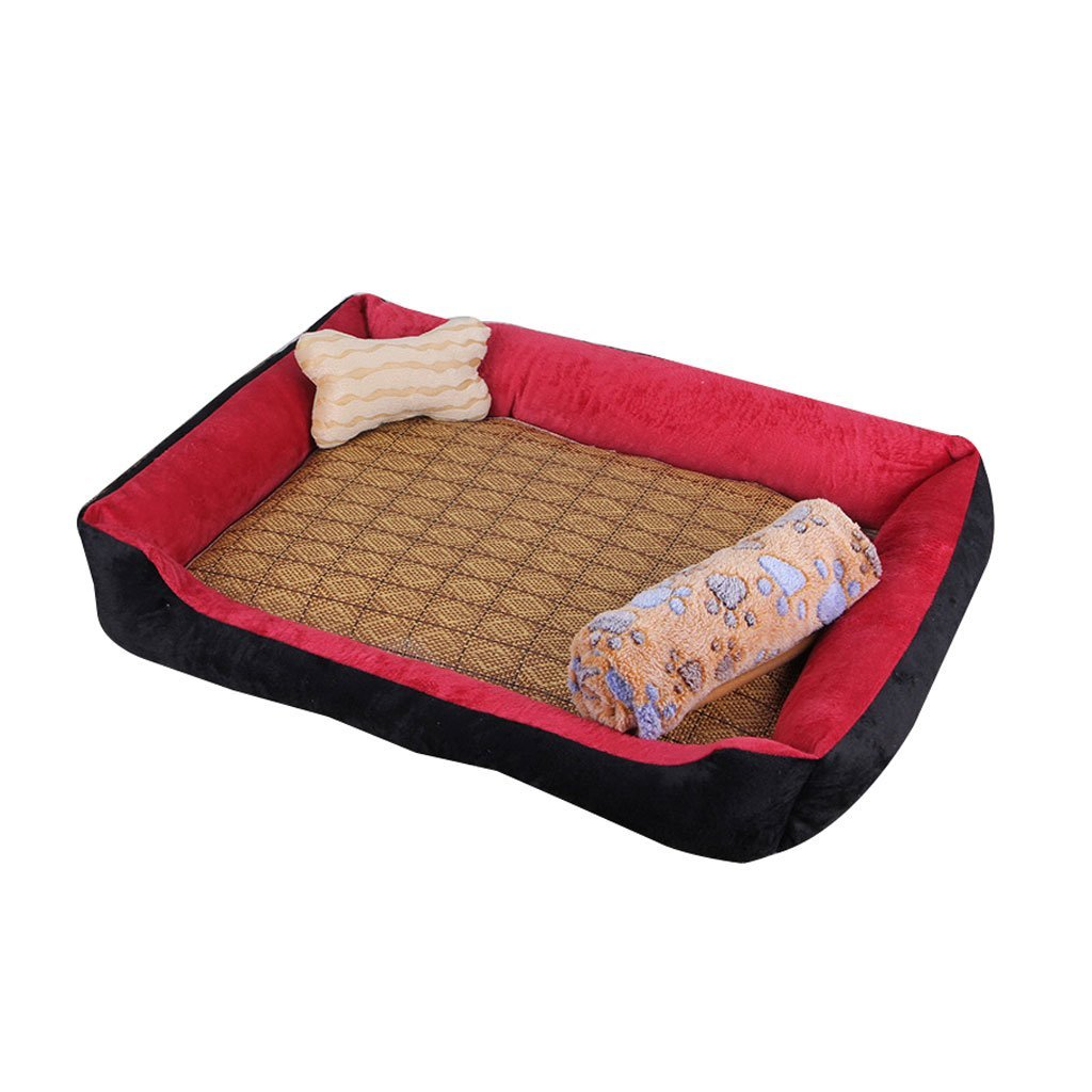 S&RL Pet Sleeping Pad Small Dog Medium Size Large Dog Mat Kennel Four Seasons Pet Wolves Dog Supplies Dog House Cat Litter Red bluee Pet Sleeping Pad, red, 120  90cm