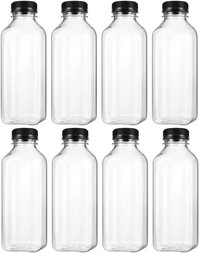 TOYANDONA Botellas de Jugo de Plástico para Mascotas Vacías 8 Piezas Recipientes a Granel Reutilizables de Leche Desechable a Granel con Tapas Negras Tapas Contenedor de Bebidas Caseras (500 Ml)