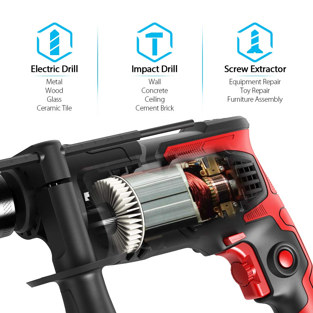Meterk 7.0 Amp 1/2 Inch Corded Drill 850W, 3000RPM Dual Switch Between Electric Hammer Drill and Impact Drill, With Adjustable Speed for Drilling Wood, Steel, Concrete&Plastic DIY Drilling by Meterk (Image #5)