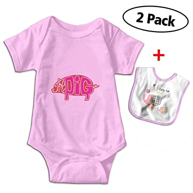 cd8802cdf The Cute Pig Baby Onesie Bodysuits Unisex Cute Infant Toddler Jumpsuit  Included A Baby Bibs 0